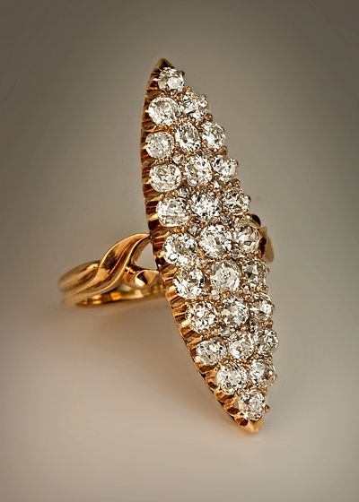 Antique Marquise Shaped 3 Ct Diamond Cluster Ring