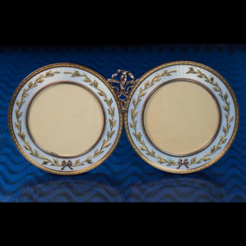 Faberge gold and guilloche enamel picture frame