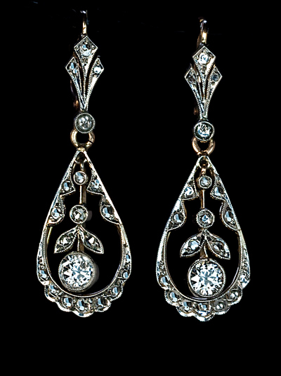 Edwardian Diamond Earrings C 1910 Antique Jewelry