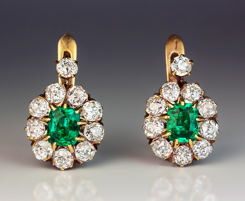 Vintage Colombian Emerald And Diamond French Clip Earrings Circa 1910