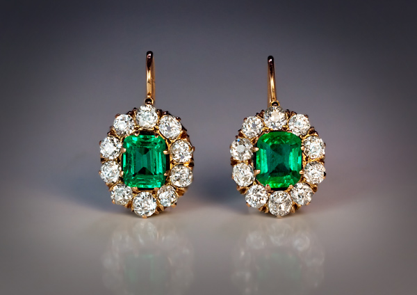 Antique Emerald Diamond Cluster Earrings Antique Jewelry