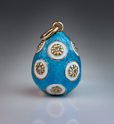 Antique Enamel Jewelry Guilloche Enamel Egg Pendant