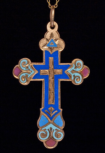 Antique Gold Crosses Enameled Gold Russian Cross