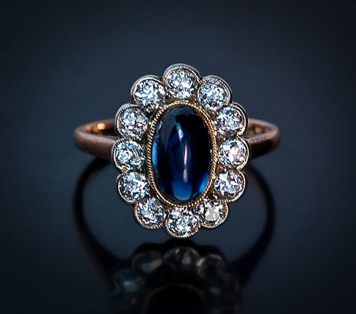 Vintage Engagement Ring Sapphire And Diamond Russian