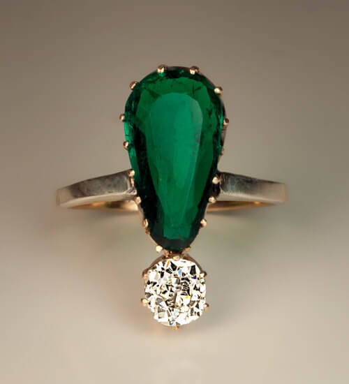 2 55 Ct Rich Green Colombian Emerald Diamond Ring Antique