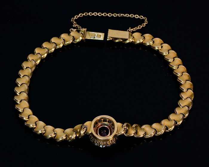 Antique Russian Gold Diamond And 2 Ct Ruby Bracelet