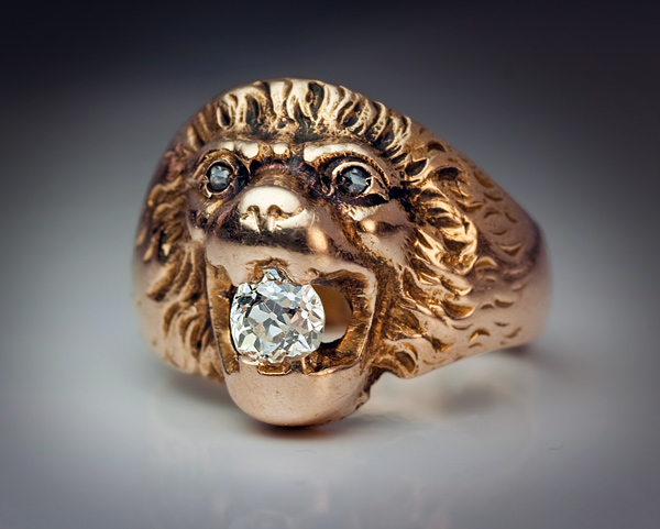 Vintage Diamond Gold Lion Head Men s Ring Antique Jewelry