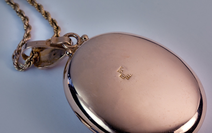 A Very Large Victorian Era Antique Russian Jeweled Gold Locket And Chain
