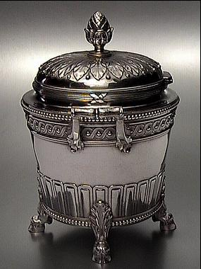 Faberge Silver Sugar Bowl In Louis Xvi Style Antique