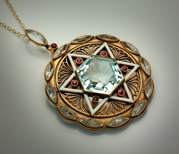 Jewish star of david aquamarine art deco pendant 1930s for Star of david necklace mens jewelry