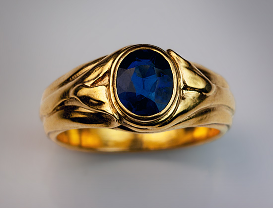 Antique Blue Sapphire Gold Men S Ring Antique Jewelry