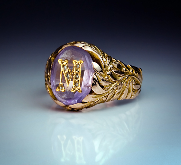 Vintage Amethyst Monogrammed Mens Ring Antique Jewelry