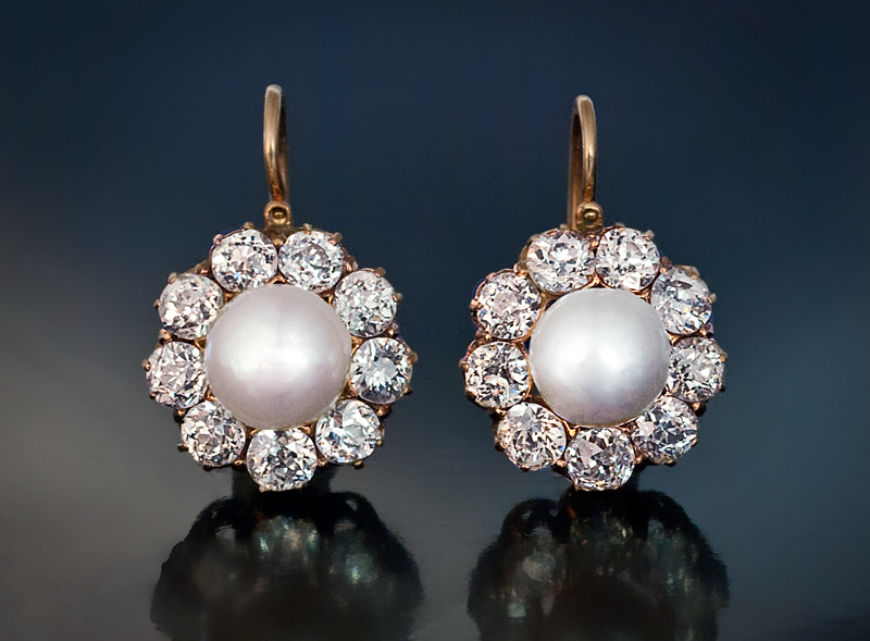Antique Pearl And Diamond Cer Earrings