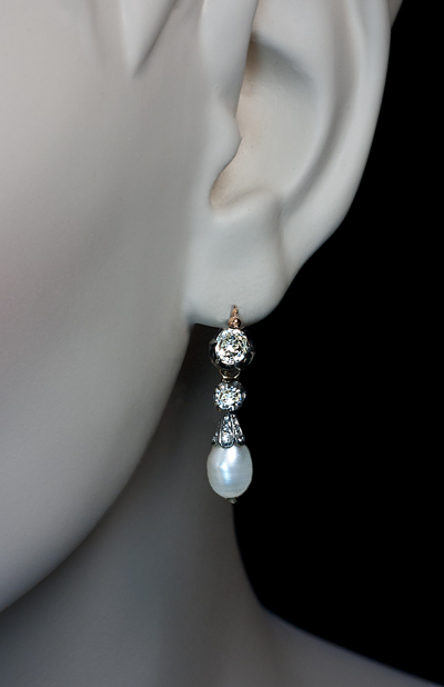 Natural Pearl And Diamond Drop Earrings 1800s
