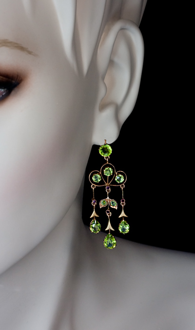 Chandelier Earrings Peridot Art Nouveau Dangle Earrings