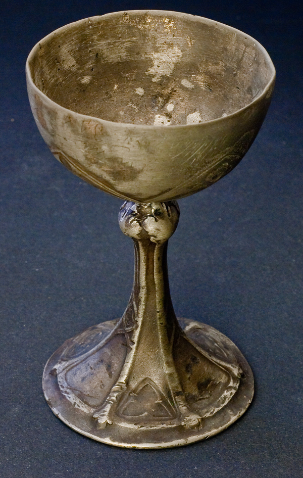 Medieval Gothic Pewter Wine Cup Antique Jewelry