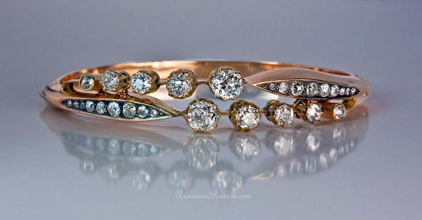 Antique Diamond Bangle Bracelets Gold Diamond Bracelet c1890