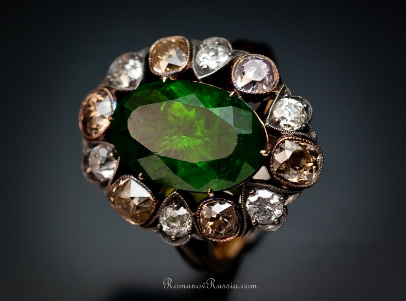 5 Ct Demantoid Garnet Amp Fancy Diamond Ring Antique