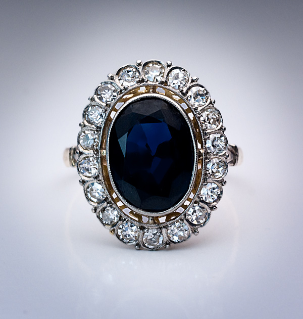 Art Deco European Sapphire Engagement Ring Antique Jewelry