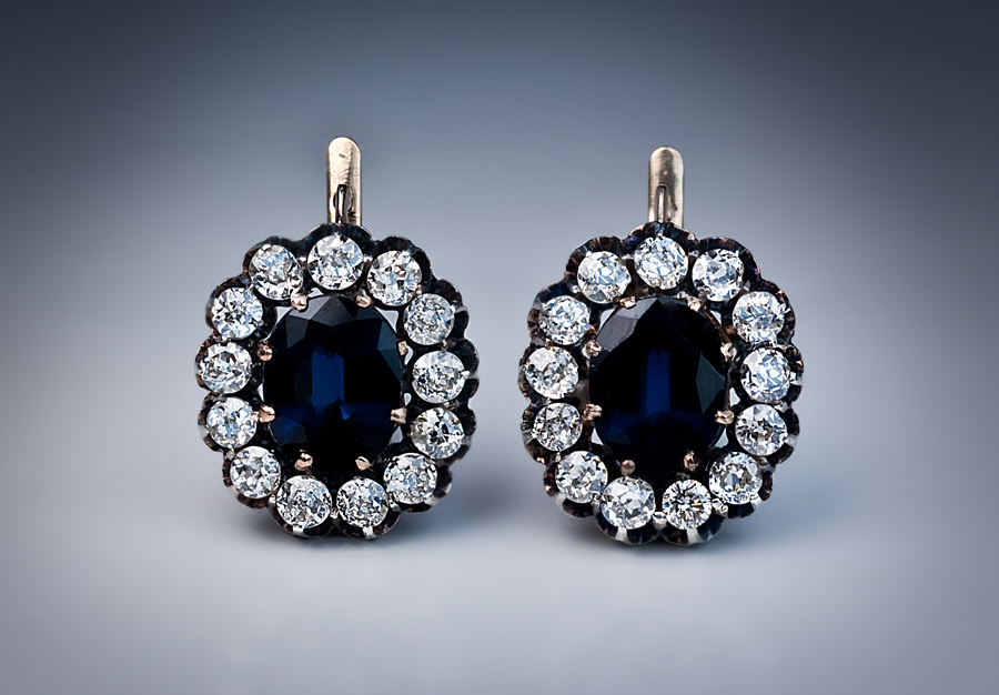 Antique Shire And Diamond Cer Earrings