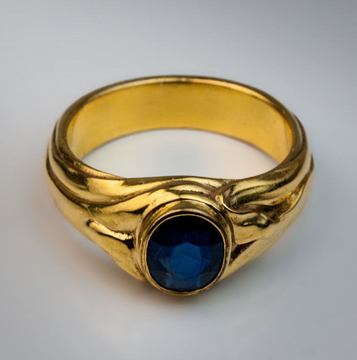 Antique Blue Sapphire Gold Men\'s Ring - Antique Jewelry | Vintage ...