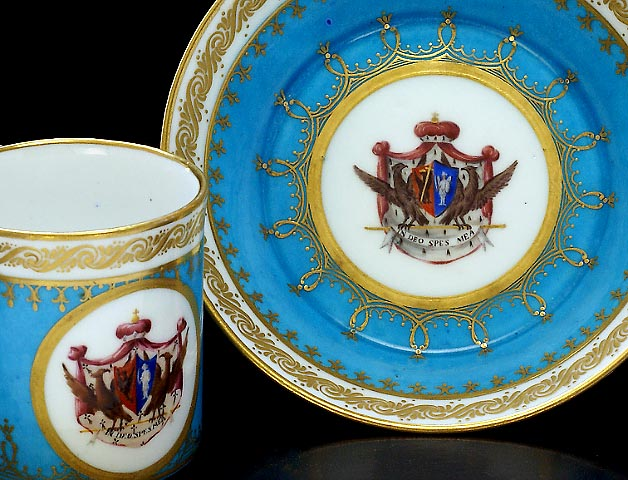 Rare Antique Sevres Porcelain Cup And Saucer 18th Century