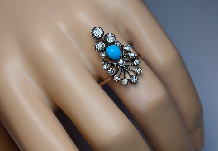 Antique Turquoise & Diamond Silver Topped Gold Ring Antique