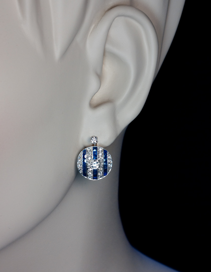 Vintage Art Deco Diamond And Shire Earrings