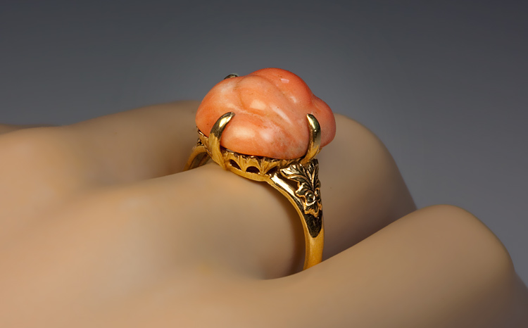 Vintage Carved Coral And Gold Ring 1920s Antique Jewelry