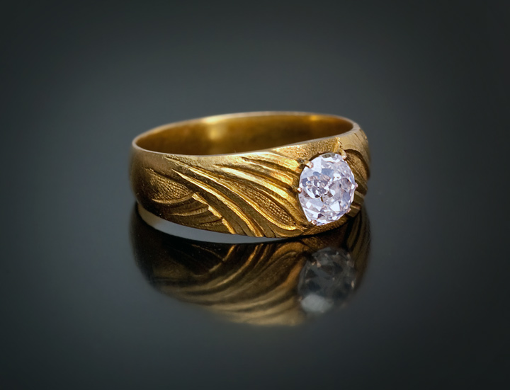 Early 1900s Art Nouveau Mens Diamond Gold Ring Antique Jewelry