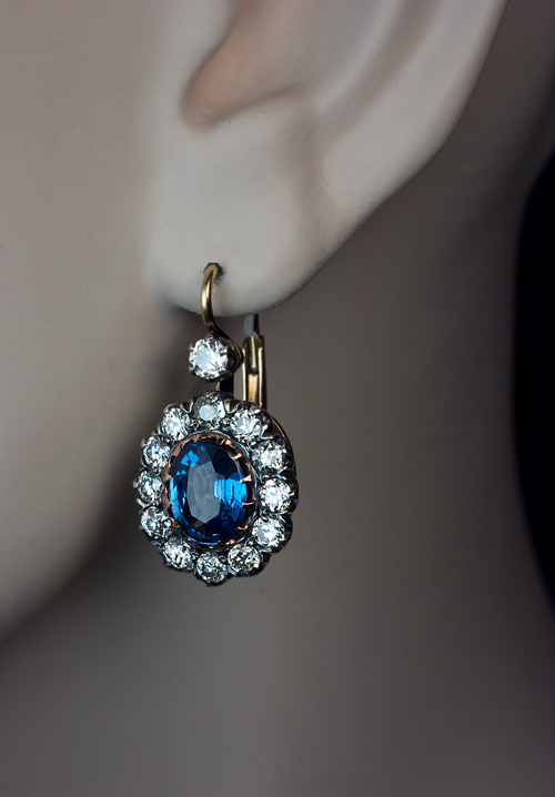 Vintage Sapphire Earrings Sapphire Diamond Earrings C Antique Jewelry