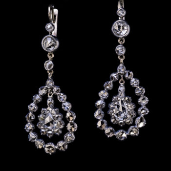 antique Georgian diamond earrings set with old rose cut diamonds