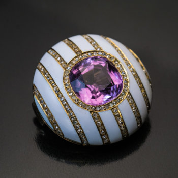 Faberge jewelry - pink tourmaline white enamel diamond Faberge brooch