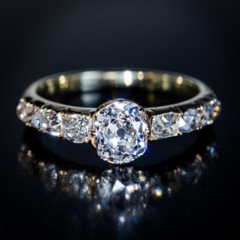 antique diamond engagement rings - 19th century cushion cut diamond ring