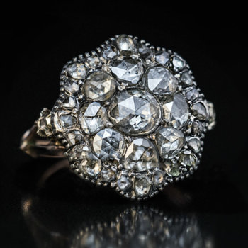 antique Georgian rose cut diamond cluster ring