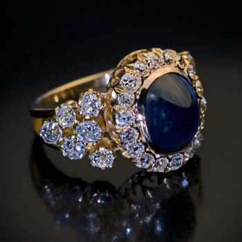 antique 5 carat cabochon sapphire diamond ring