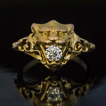 antique lion ring