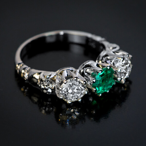 1095f4ffd5631 Vintage Emerald Diamond Platinum Three Stone Ring. Click on Images to  Enlarge