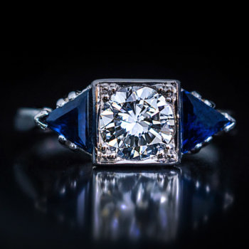 Art Deco vintage engagement rings - platinum diamond and triangle cut sapphire ring