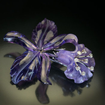 vintage carved amethyst orchid brooch pin