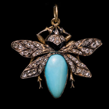 antique Victorian fly insect pendant