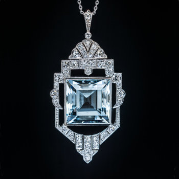 Art Deco vintage aquamarine diamond necklace