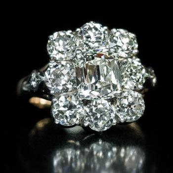 antique 5.26 ctw diamond cluster engagement ring