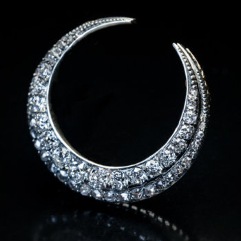 antique crescent moon diamond pendant brooch