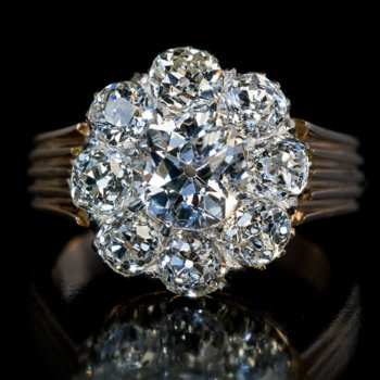 antique old mine cut diamond engagement ring