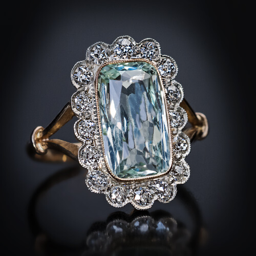 Art Deco Vintage Aquamarine Diamond Cluster Ring Antique
