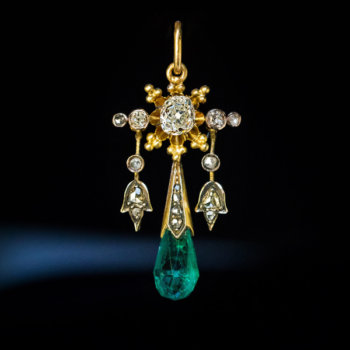 antique Colombian emerald drop shaped pendant