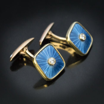 Faberge enamel diamond gold antique cufflinks