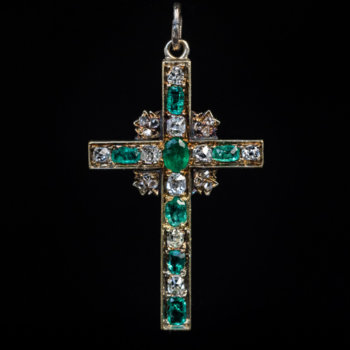 antique emerald and diamond cross