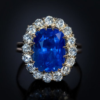 antique 8.66 ct natural unheated sapphire engagement ring